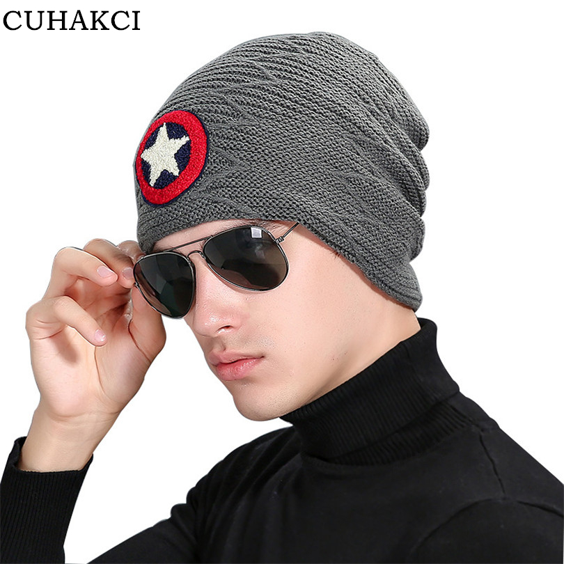 CUHAKCI Men Winter Hat Casual Beanie Five Star Hats Warm Baggy Knitted Skullies Ski Sports Beanies Adult Cap New Brand M071 winter hat casual women s knitted hats for men baggy beanie hat crochet slouchy oversized ski caps warm skullies toucas gorros
