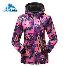 Camo Water Resistant Windbreaker Hiking Camping Coat Outdoor Softshell Jacket Women Climbing Jaqueta Feminina With Fleece Liner