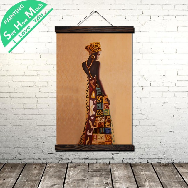 Rabatt Afrikanische Frau Kunst Scroll Malerei Leinwand Vintage