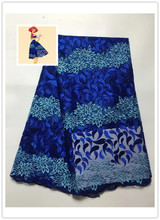 5yds/pce by dhl polyester/ctton material royal blue african lace fabric for women party event dress high quality nigerian fabric