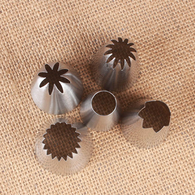 5Pcs Cakes Decoration Set Cookies Supplies Russian Icing Piping Pastry Nozzle Stainless Steel Kitchen Gadgets Fondant Decor
