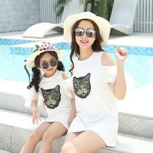 off shoulder mother daughter dresses sequin cat family look mommy and me clothes mom and daughter matching dress outfits summer