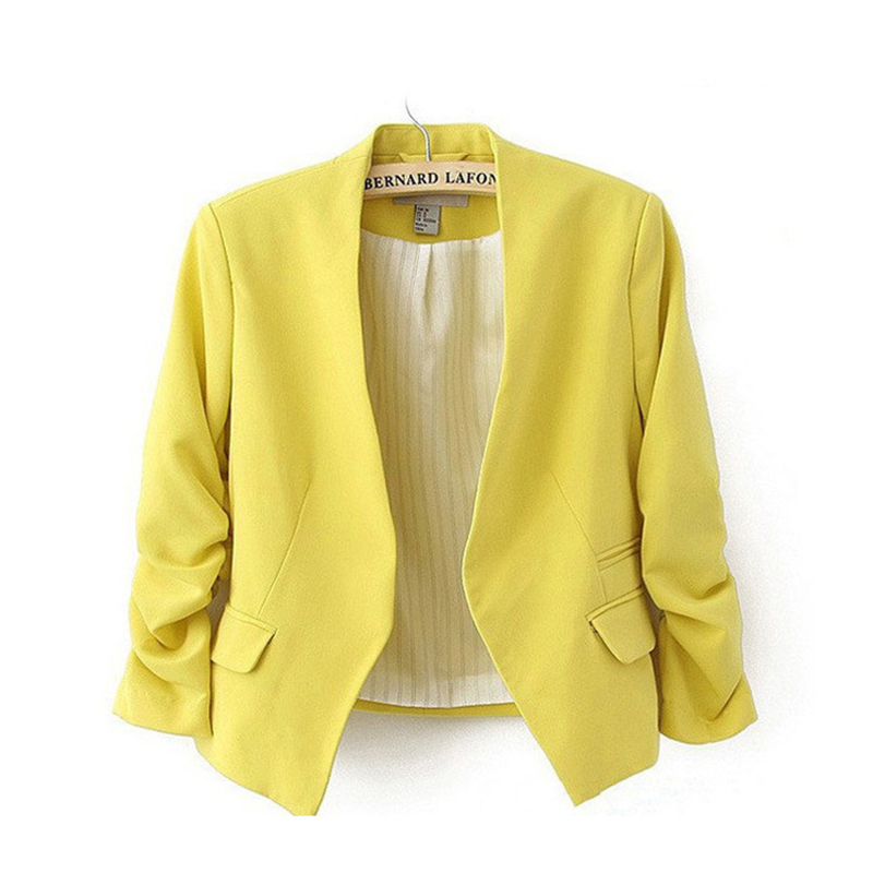 2018 New arrival Jacket Blazer Lined With Striped no Button Women Pleated sleeves Coat Suit Vogue Blazers Jacket Candy-colored
