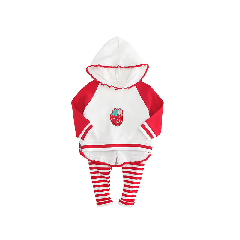 2018 Children Clothing Set Autumn Patchwork Striped Baby Girls Strawberry Outfits Hooded Fleece Top + Fake Two-piece Pants Suit baby digital fleece suit 2015 autumn winter wear new children s clothing male children s wear fleece draw string fleece pants