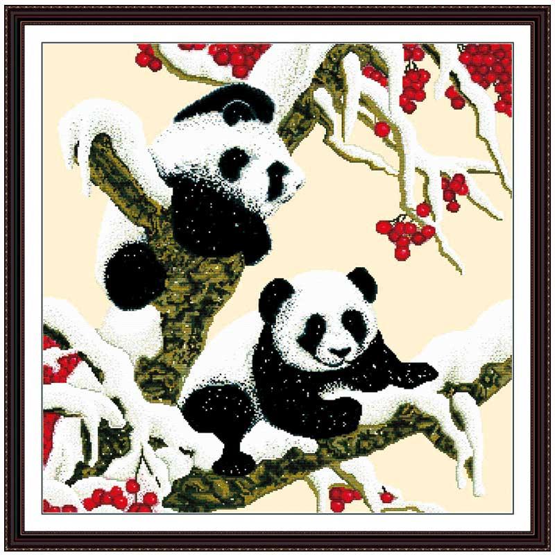 Panda reunion patrón contado cross stitch 11ct 14ct cross stitch ...