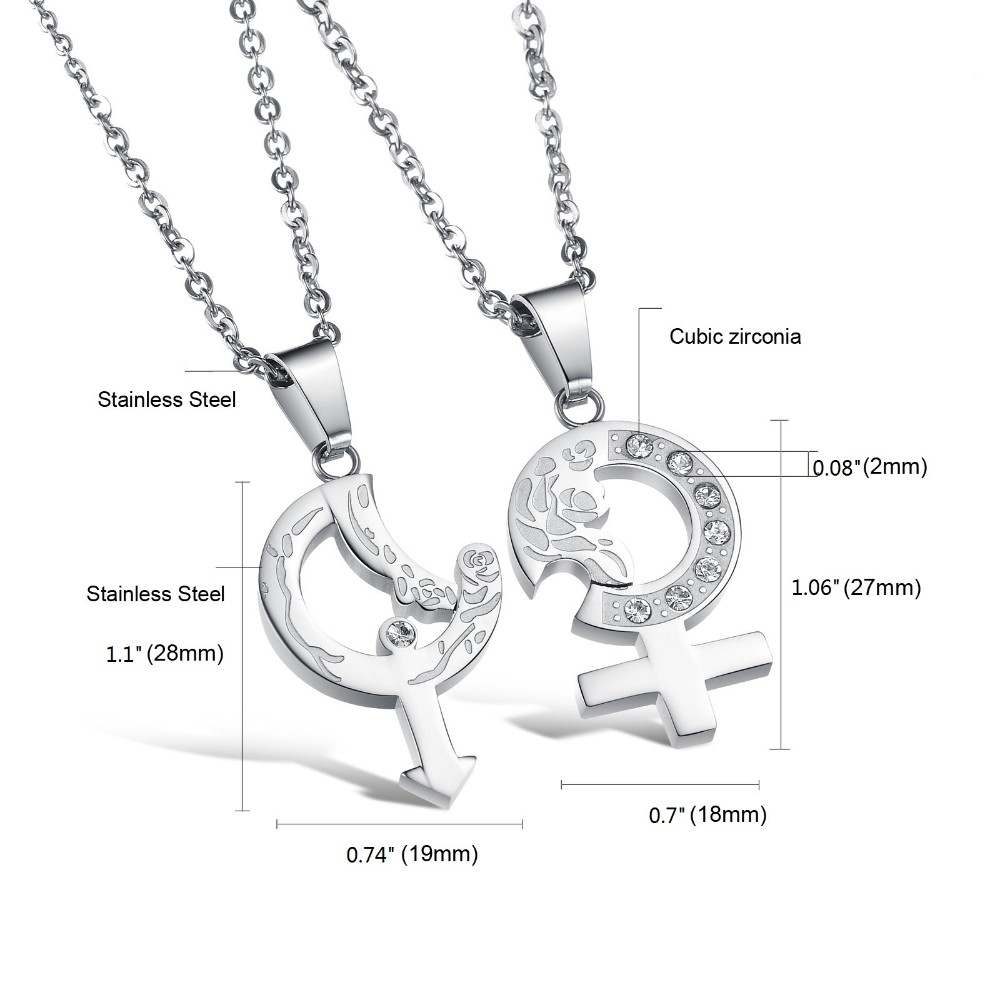 2dc4163ad5 Lovers Romantic Gift Girl & Boy Symbol Pendant Necklace Jeweled ...