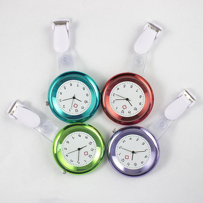 Colorful Women Lady Fashion Nurse Watch 8 Colors Round Dial Quartz Doctor Medical Pocket Fob Watches Brooch Pendant