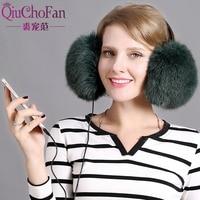 womens earmuffs Real fox fur and rex rabbit fur earmuffs winter earmuffs comfortable warm wearing headphones ear warm ladies