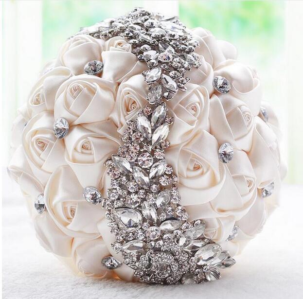 AYiCuthia crystal Wedding Bouquet Red Brooch bouquet wedding accessories Bridesmaid artifical Wedding flowers Bridal Bouquet S18