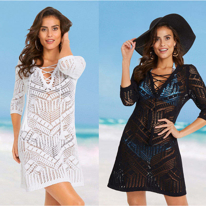 Beach Robe Swim Cover Up Dress Pareo For Women Summer Kaftan New Knitted Hollow Front Strap Skirt Solid Polyester Sierra Surfer