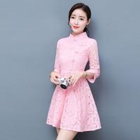 New Women Dress Three Quarter Sleeve Lace Whole Shop Cheongsam Socialite Party Dresses Blue White Pink