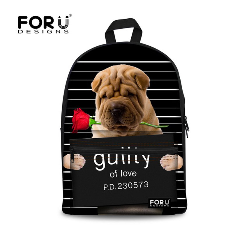 397439ef295 ... sale retailer e879d 8cffd Cute Girls Backpack Black 3D Animal Bull Dog Printing  Backpack for Kids ...