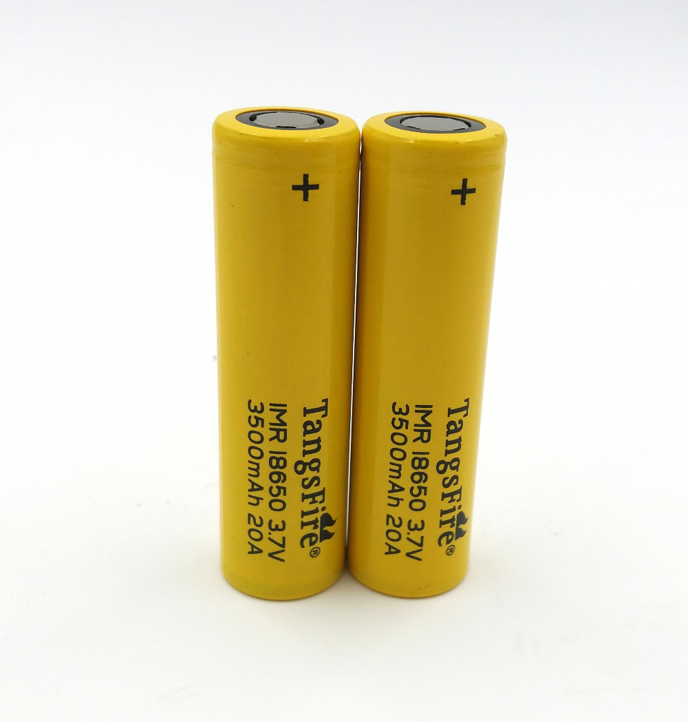 TangsFire 2PCS 18650 IMR Li ion Battery 20A 3 7V 3500mAh High Drain Rechargeable Battery For Electronic Cigarettes Flat Top in Rechargeable Batteries from Consumer Electronics