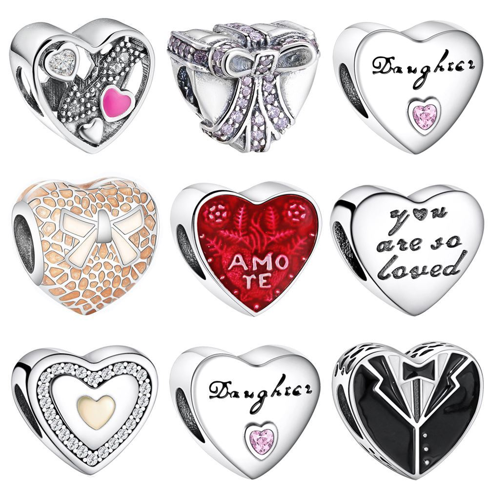 WYBEADS Fine 925 Sterling Silver LOVE & HEART Charms CZ Enamel European Bead Fit Bracelet & Necklaces DIY Accessories Jewelry