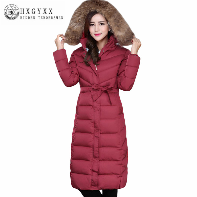 Winter Parka Women 2016 Plus Size 5XL Long Coat Big Fur Collar Slim Cotton-Padded Coats Mother Belt Wadded Jackets AA308 2017 long winter coats cotton padded women jackets luxury big faux fur collar coat thick hooded parka plus size 3xl abrigo mujer