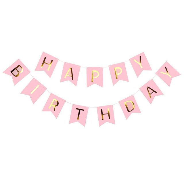 glitter happy birthday letter bunting banner gold letters hanging pink blue string flags baby shower birthday