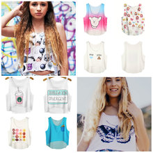 Women Soft Sleeveless Cotton Cartoon Print Casual Tank Tops font b Blouse b font Stretchy Crop