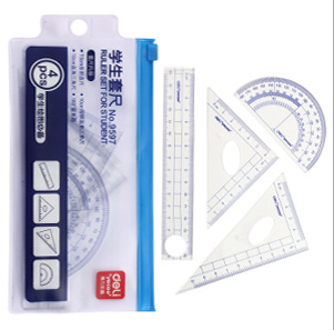 4pcs/set Plastic Triangular Scale Ruler 15cm Protractor  For Designers Office Achitects School Student Engineering Drawing DM003