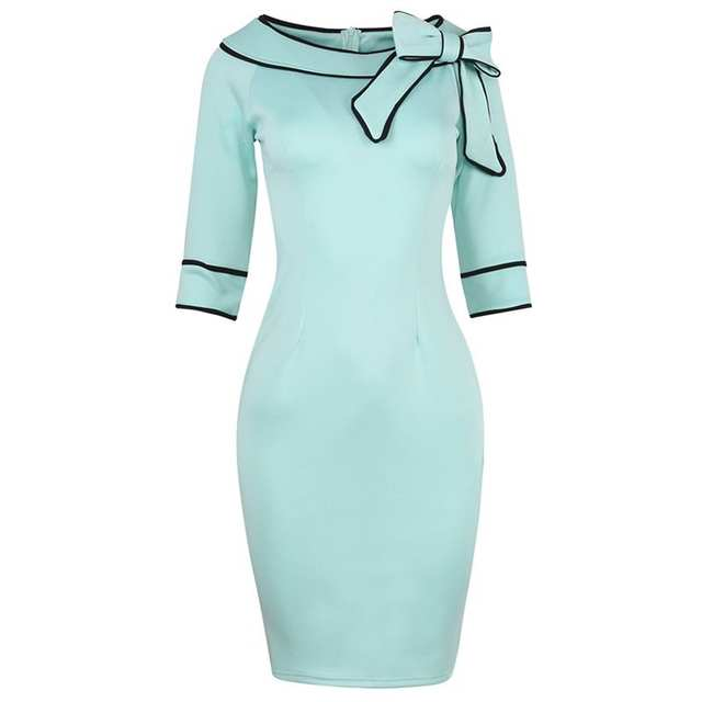 99b8992861ee5b Online Shop Fashion Women Sexy Off Shoulder Elegant Vintage 50s Bow Pinup  Tunic Casual Wear To Work Office Party Pencil Sheath Dress Suit
