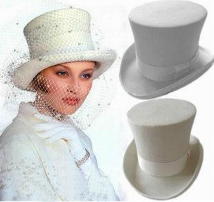 100% Wool Vintage Top Hat 18cm Tall White Crown Hat Retro Victorian Magic Hat for Adult Women Men