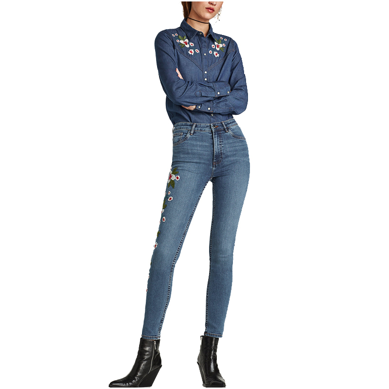 NYMPH 2017 New Fashion Women Jeans Pants Skinny Jeans Plus Size with Embroidery High Waist Pencil Denim Pants Female Trousers inc international concepts plus size new charcoal pull on skinny pants 14wp $59
