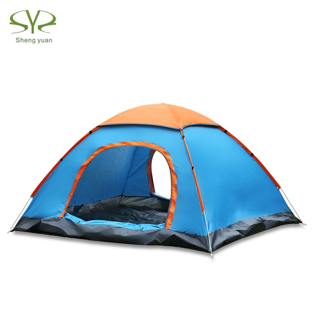 SHENGYUAN Outdoor Water Resistant Automatic Instant Setup Two Doors 2 Person Camping Tent With Rain Cover