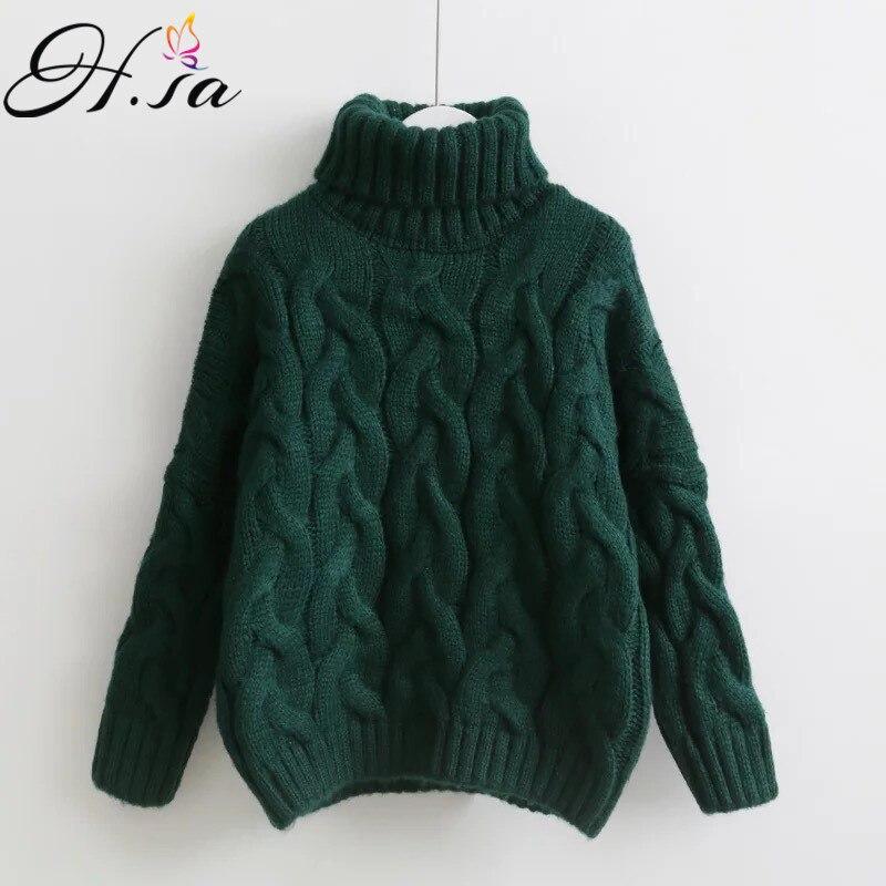 H. SA suéteres de cuello alto para mujer Otoño Invierno 2017 jerseys europeos Casual Twist Warm Sweaters mujer suéter de gran tamaño Pull