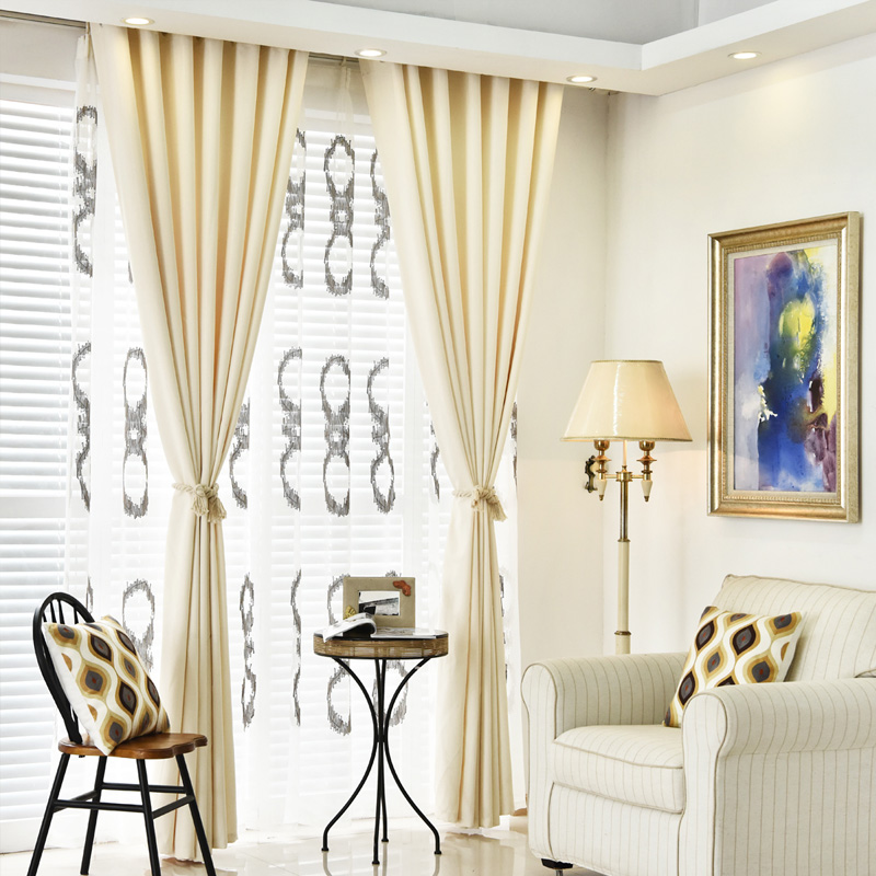 Curtains blackout modern full color shade curtains short embroidered Linen window solid panel tulle living room