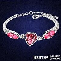 2017 Yeni gelen Kalp Bilezik ve Bilezikler Kadınlar Feminina Kristaller Swarovski Cristal Aşk Bijoux Güzel Çekicilik fashon Takı