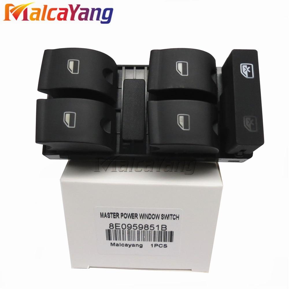 Hiqh Quility Electric Powert Master Window Switch Button For AUDI A4 B6 2003- B7 SEAT Exeo 8E0 959 851 8E0 959 855 8E0959851B