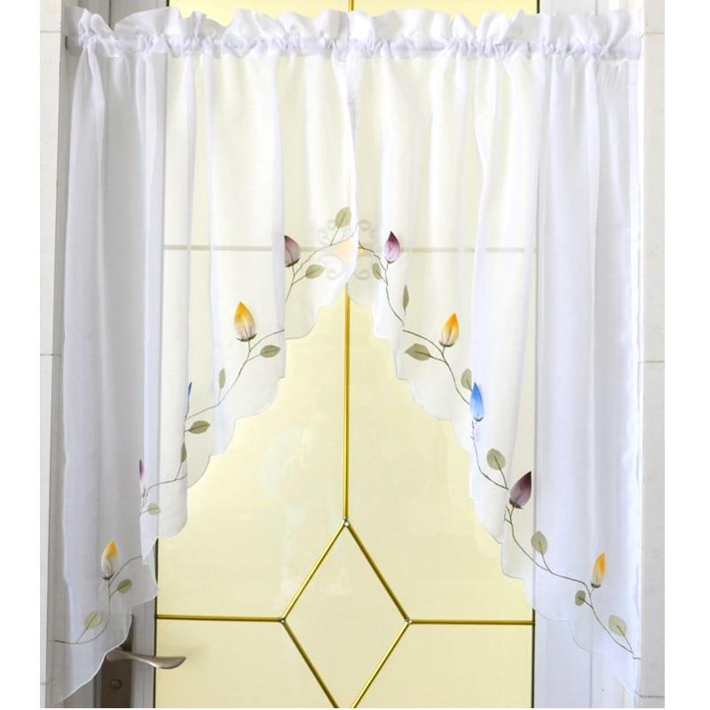 1 Pair Pastoral Chili Embroidered Kitchen Window Curtain