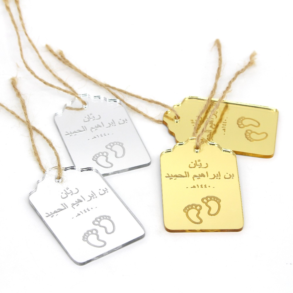 US $35 89 |50 Pcs Personalized Laser Engraved Baby Shower Thank You Tags  Gifts Labels Gold / Silver Mirror Tags Birthday Party Decor Favors-in Party
