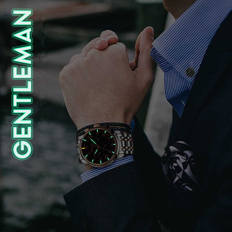 T25 Тритий газ светящиеся механические часы для мужчин карнавал полная сталь многофункциональные автоматические наручные часы Мужские часы reloj hombre - 6