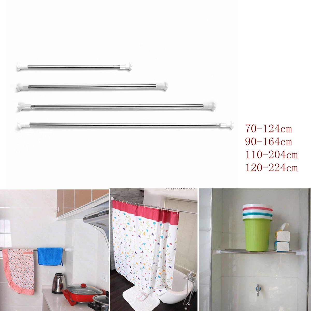 Adjustable Steel Rods Rails Bars Steel Telescopic Extendable Wardrobe Windows Bath Shower Curtain Rail Rod Pole beautiful winter river and trees print bath decor shower curtain