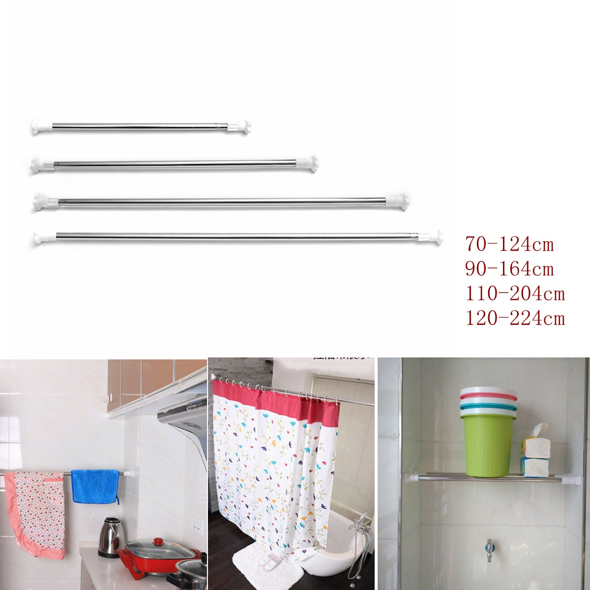 Adjustable Steel Rods Rails Bars Steel Telescopic Extendable Wardrobe Windows Bath Showe ...