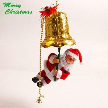 Santa Claus cascabeles decoración de Navidad oldman escalada en las campanillas eléctricas cascabeles colgantes deco