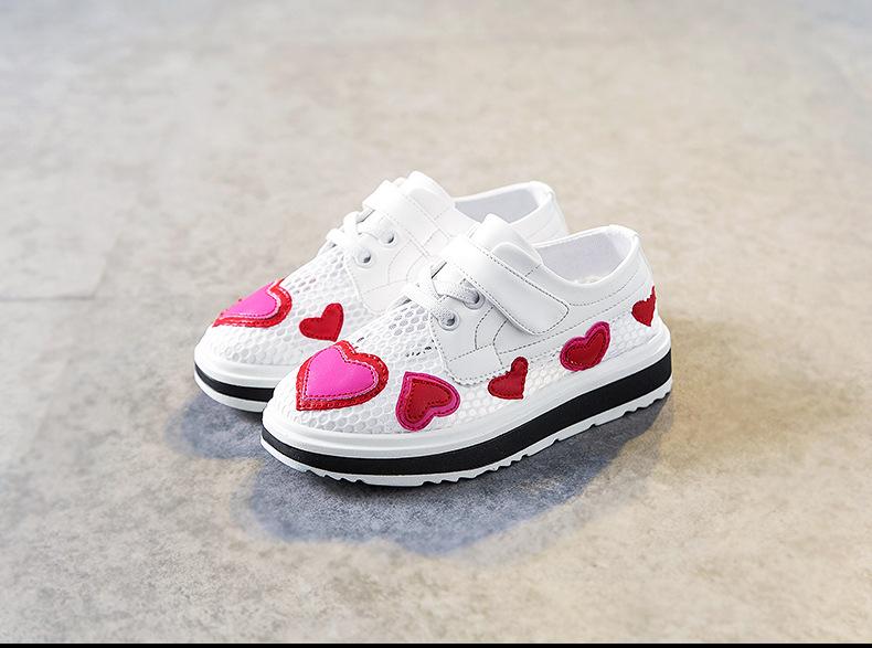 17 Spring girls slip-on love heart shoe for children fashion mesh shoe baby girl brand casual sneaker platform kid sneakers 2