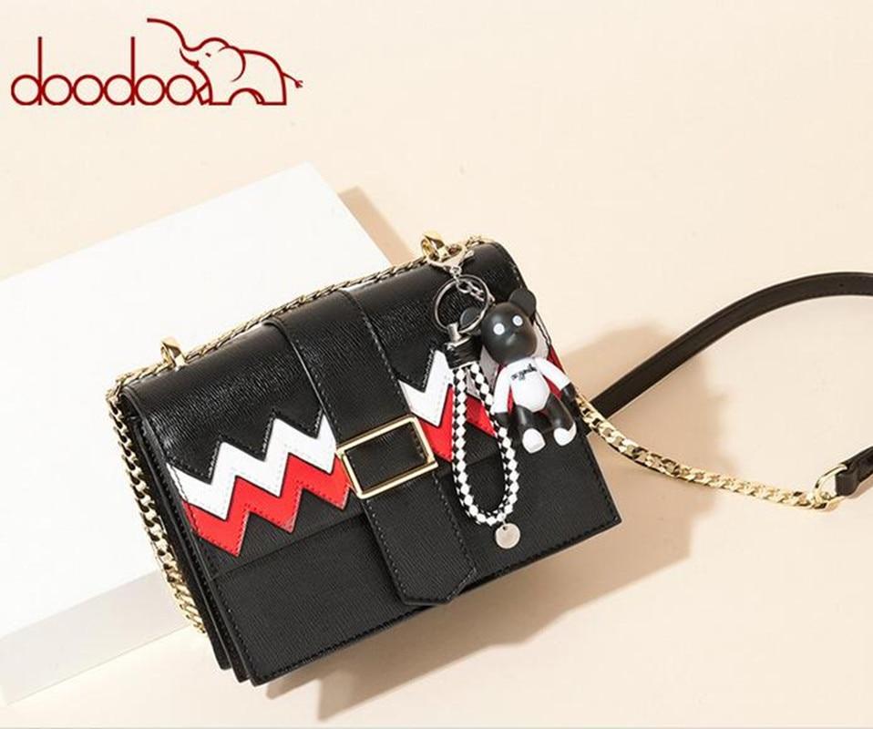 DOODOO Original New Women Fashion Flap PU Leather Fashion Chain Shoulder bag With Bag bolsas feminina FR559 glitter flap pu shoulder bag with chain