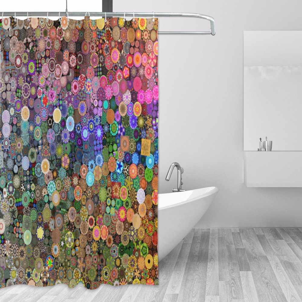 100% Polyester Waterproof Fabric Shower Curtain Mini Mandala Pattern Decorative Bathroom Curtain with 12 Hooks