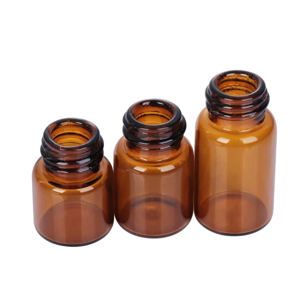 80517971a4b7 5PCS 1/2/3/5ml Mini Essential Oil Bottle Jar Orifice Brown Reducer & Cap  Refillable Bottles Glass Vials Cosmetic Containers