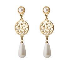 Water Drop Pearl Gold Metal Leaf Openwork Earrings Ear Clip Silver Needle Stainless Steel Female Fashion Jewelry