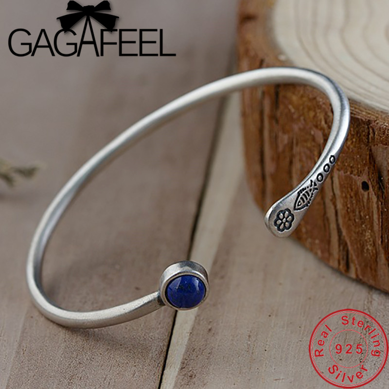GAGAFEEL Blue Stone Circlets S925 Sterling Silver Bracelet Adjustable Bangles for Women Ladies Wholesale Hot sale