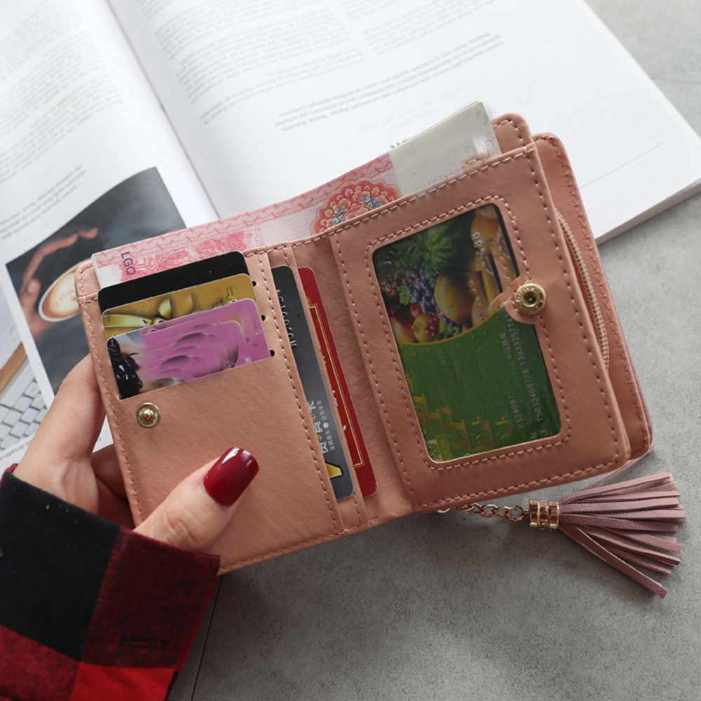 Aelicy Роскошные милый кот аниме кожи кисточкой тонкий мини-кошелек Для женщин маленький клатч женский кошелек для монет и карт держатель доллар клатч