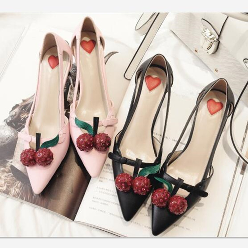 Pointed Toe Cherry Decoration High Heels Hollow Out Strange Style Heel  Women Shoes Sandals Red Heart Women Pumps Zapatos Mujer 4a6a9295342f