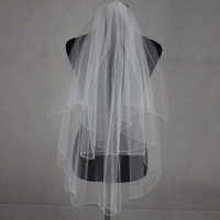 100% Real Picture 2017 Bridal Hand Veils Cathedral Beaded Veil Lace Wedding Veu De Noiva Longo Wedding Veil with Comb