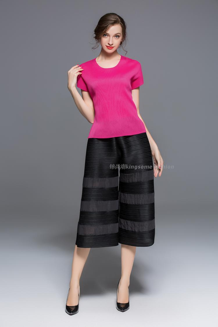 FREE SHIPPING All-match pleated cotton pressure pleated wide leg   pants     capris     pants   IN STOCK