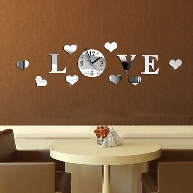 New Modern 3D Mirror wall clock Effect Removable Love Decal Wall ...