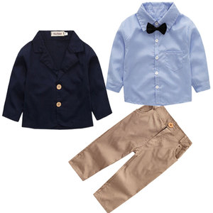 Image 2 - 2020 Boys Spring and Autumn Gentleman Clothing Sets Jacket + Shirt + Pants 3 pcs Suit for Kids Childrens Fashion Party Clothes