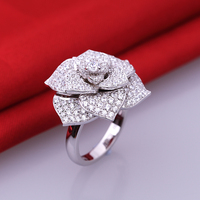 Group With SONA Synthetic Fashion Ring 925 Sterling Silver Ring Female Flowers Shape Luxury And Generous