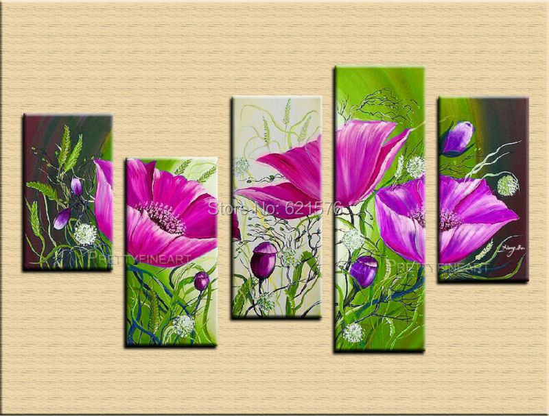 Hand painted Blooming purple corn poppy wall art picture for living ...